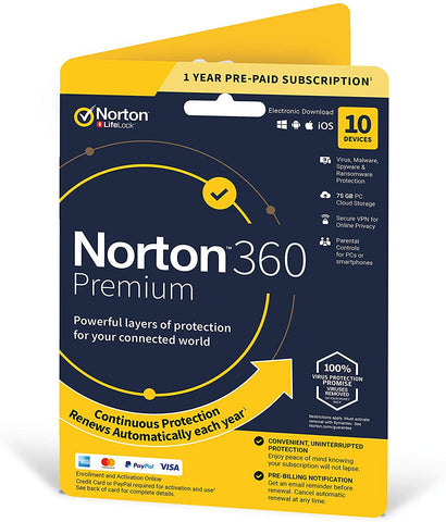 Norton 360 Premium 2020, Antivirus software for 10 Devices and 1-year subscription (PC/Mac Download Code)