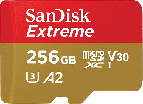 SanDisk Extreme 256 GB microSDXC Memory Card + SD Adapter with A2 App Performance + Rescue Pro Deluxe, Up to 160 MB/s, Class 10, UHS-I, U3, V30 (USED)