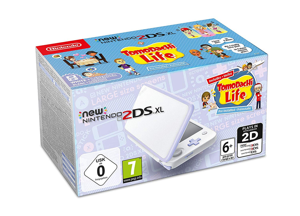 New Nintendo 2DS XL - White and Lavender + Tomodachi Life - Offer Games