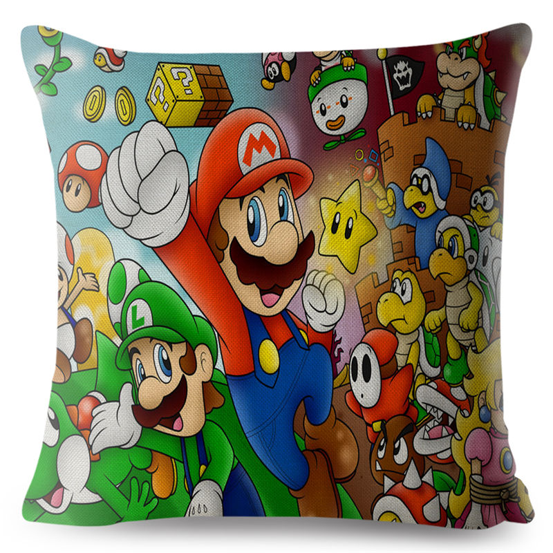 Super Mario Luigi Peach Toad Yoshi Bowser Daisey Cushion Covers Linen Pillowcase