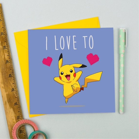 I love to Pikachu card - Birthday/Get Well/Congratulations - Offer Games