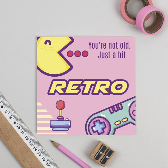 Gamer Retro 80's Birthday Card - Offer Games