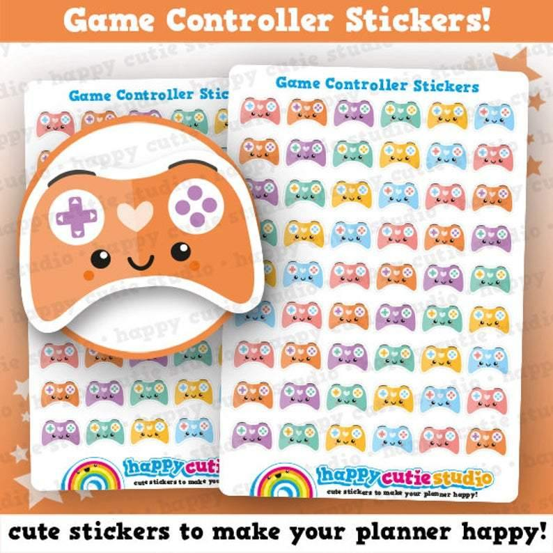 54 Cute Game Controller Planner Stickers - Offer Games