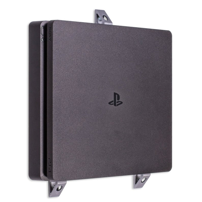 Wall Desk Mount Bracket for Playstation 4 PS4 Slim Game Console Silver - Offer Games
