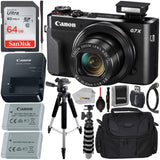"Canon PowerShot G7 X Mark II Digital Camera (Black) with Essential Accessory Bundle - Includes: SanDisk Ultra 64GB SDXC Memory Card, 1x Replacement Battery, 57"" Tripod, Carrying Case & More"