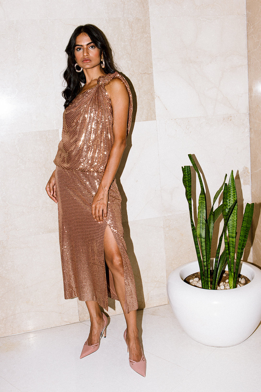 Bronze One Shoulder Knotted Sequinned Midi Dress