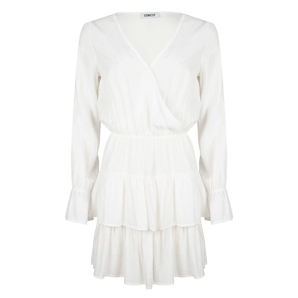 RUFFLE DRESS WHITE