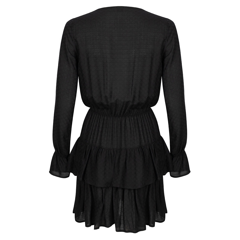 RUFFLE BLACK LACE DRESS