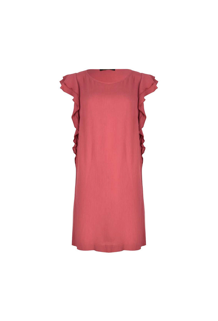 The Red Viscose Dress With Ruffles