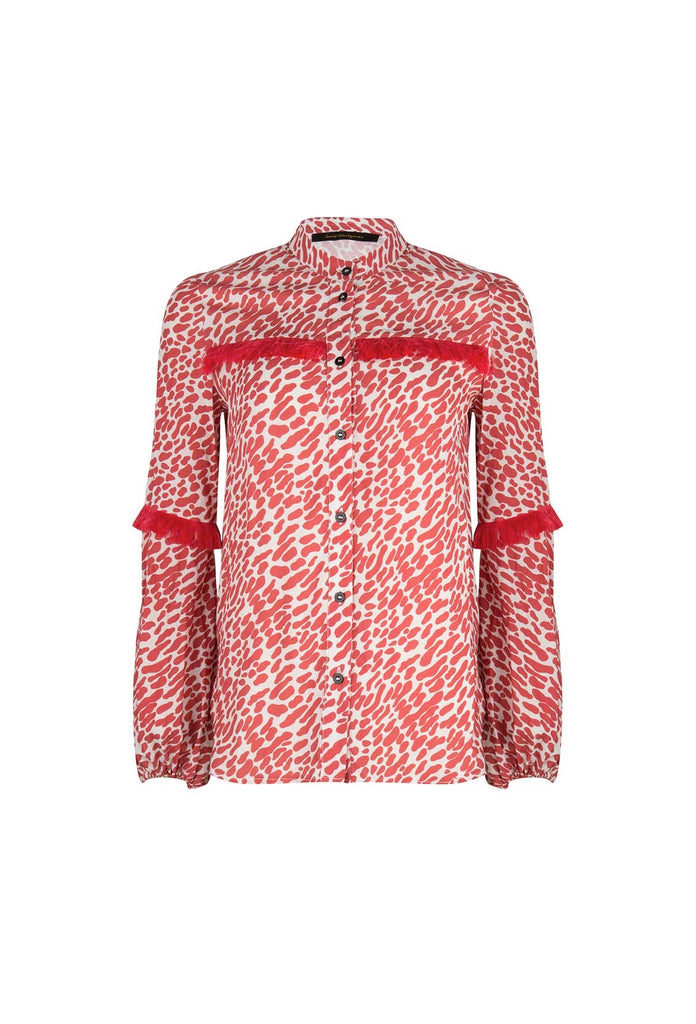 Janis Print Blouse Red With Fringes