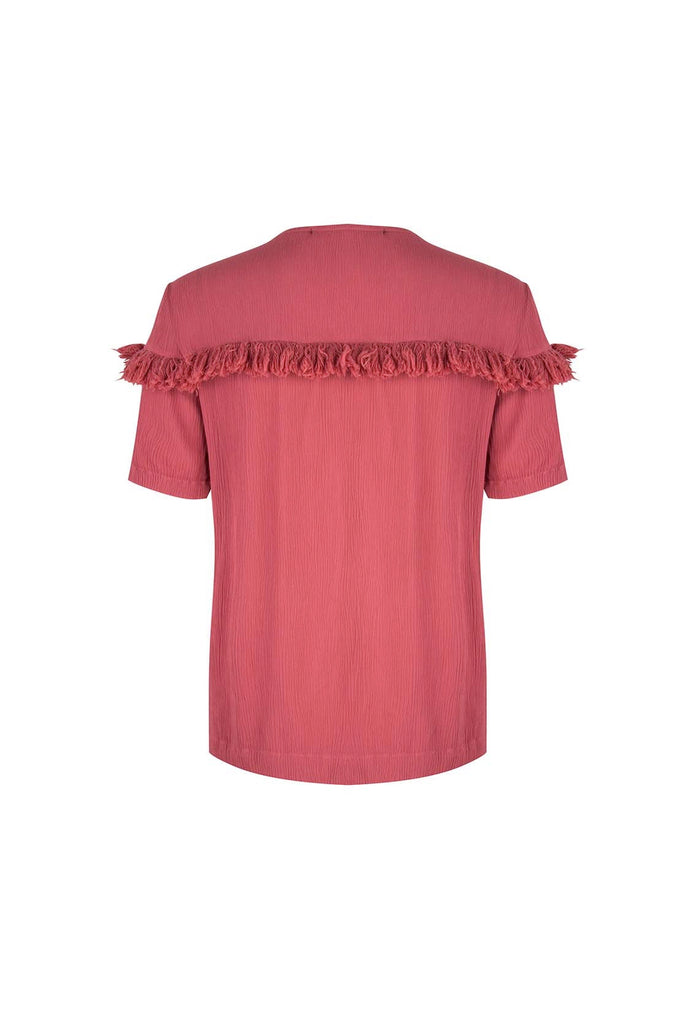 The Red Viscose Top With Fringes