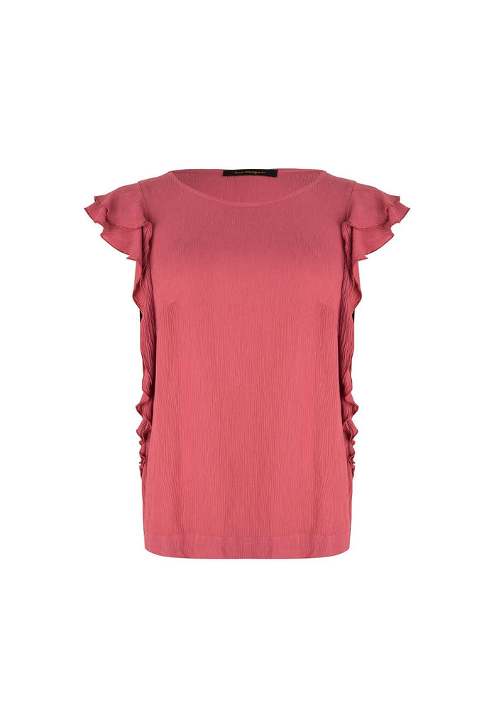 The Red Viscose Ruffle Tee/Top