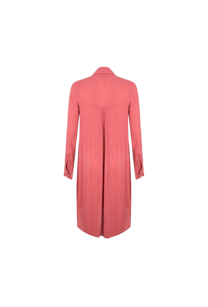 The Red Viscose Dress With Long Sleeves