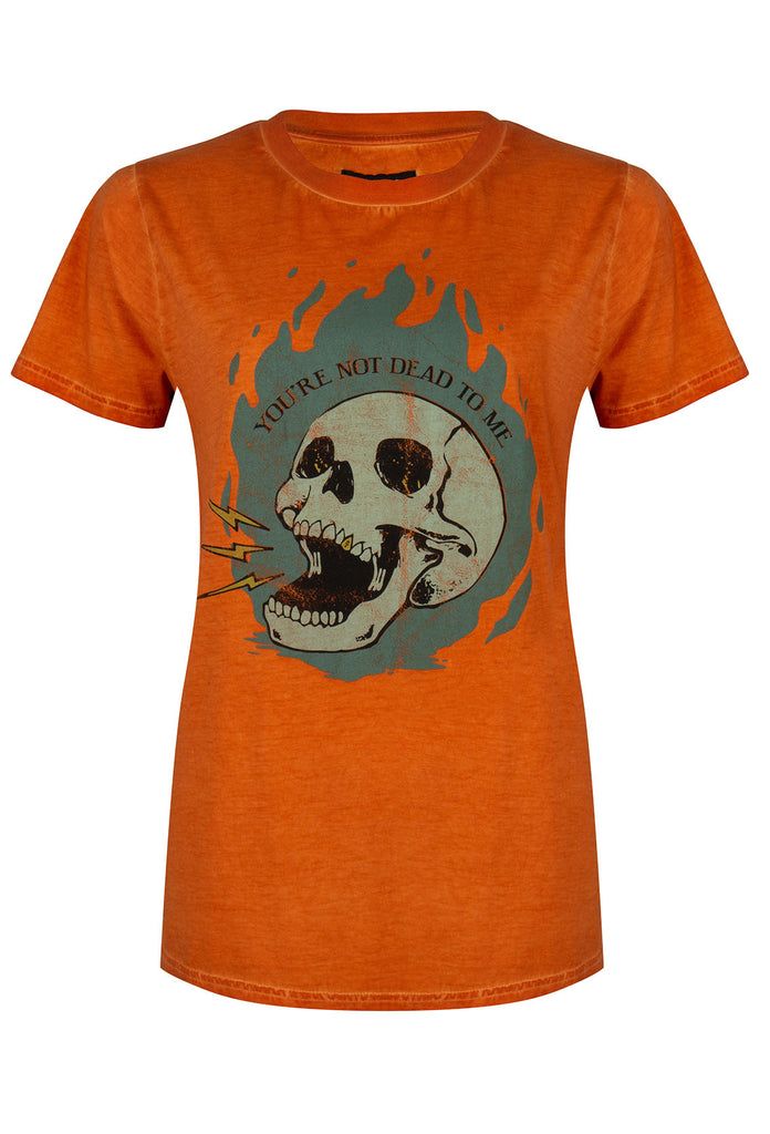 Flaming Skull Orange