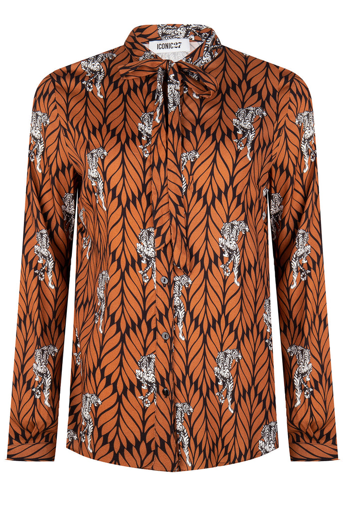Bow Brown Leaves Blouse