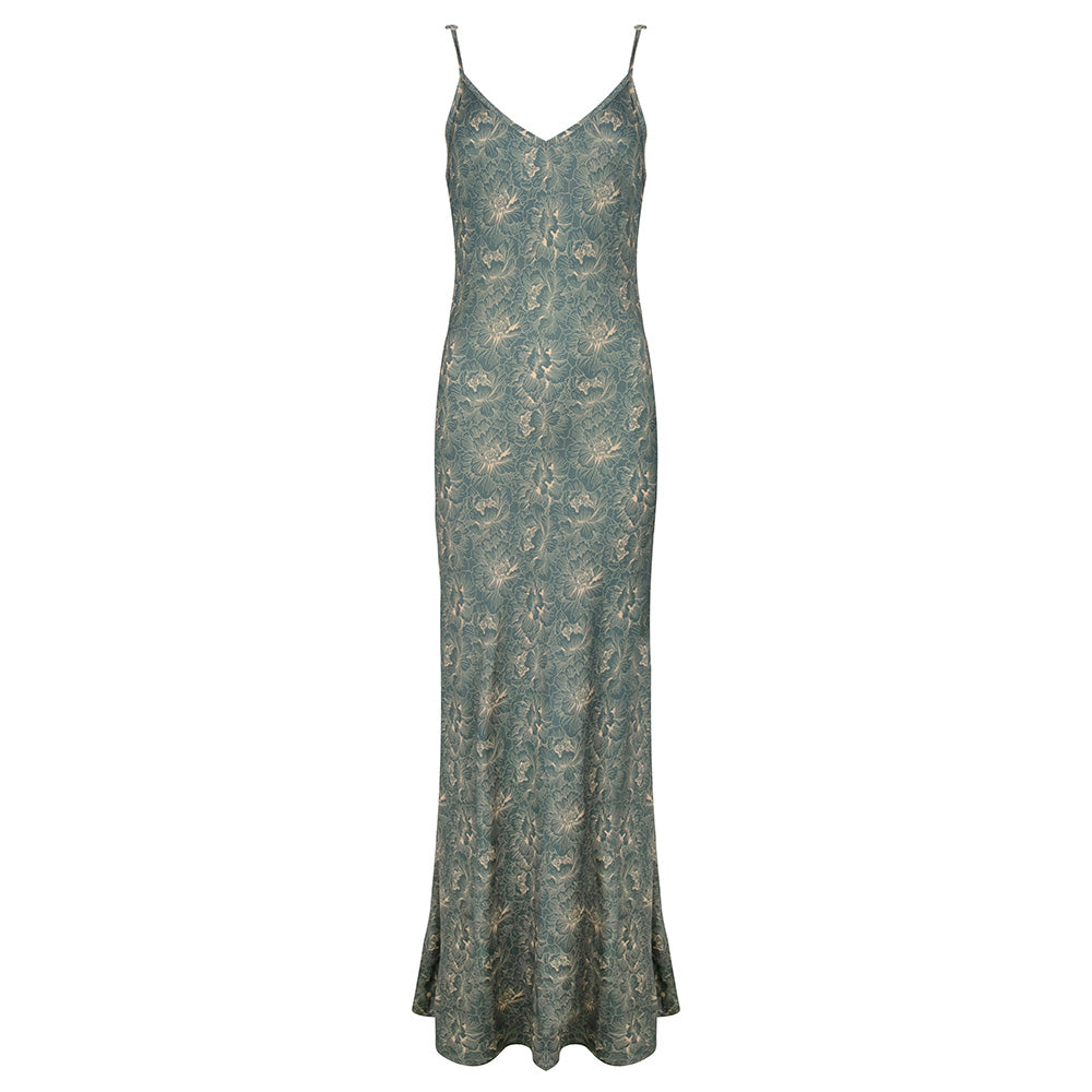 Long long slip dress flower print