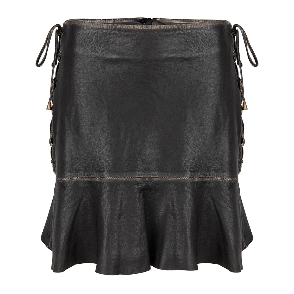 leather ruffle short