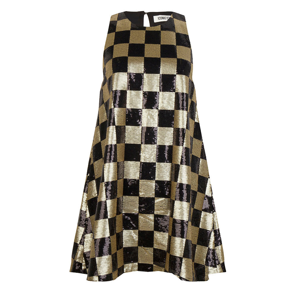 Gold Checked Dress