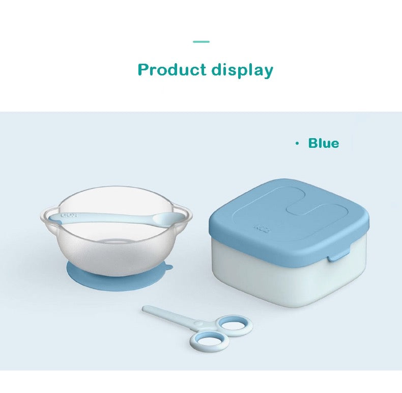 Double Bowl Lunch Box with Spoon and Scissor