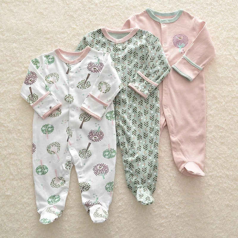 Mama's & Papa's 3 Piece Romper -Green Flower