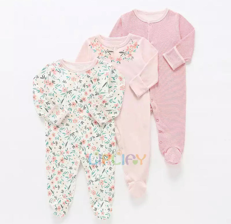 Mama's & Papa's 3 Piece Romper - Pinky Flower