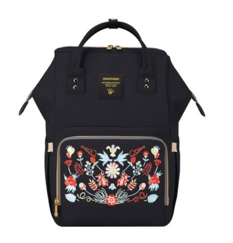 Embroidered Black Sunveno Diaperbag