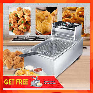 Heavy Duty Electric Deep Fryer (with Free Heavy Duty Ice Crusher)