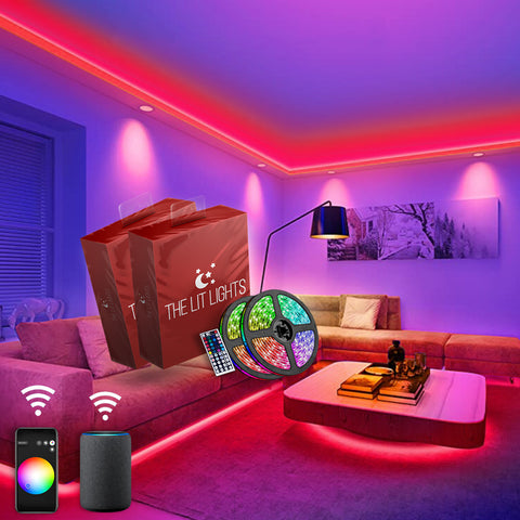 (2 PACK) Wireless WiFi LED Strip Light Kit