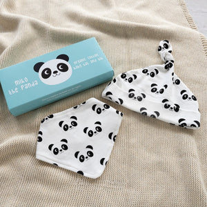 Rex London Miko The Panda Organic Cotton Babies Hat And Bib Set