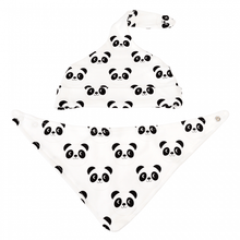 Load image into Gallery viewer, Rex London Miko The Panda Organic Cotton Babies Hat And Bib Set