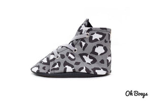 Oh Boeys Grey Leopard Lace Up Shoes