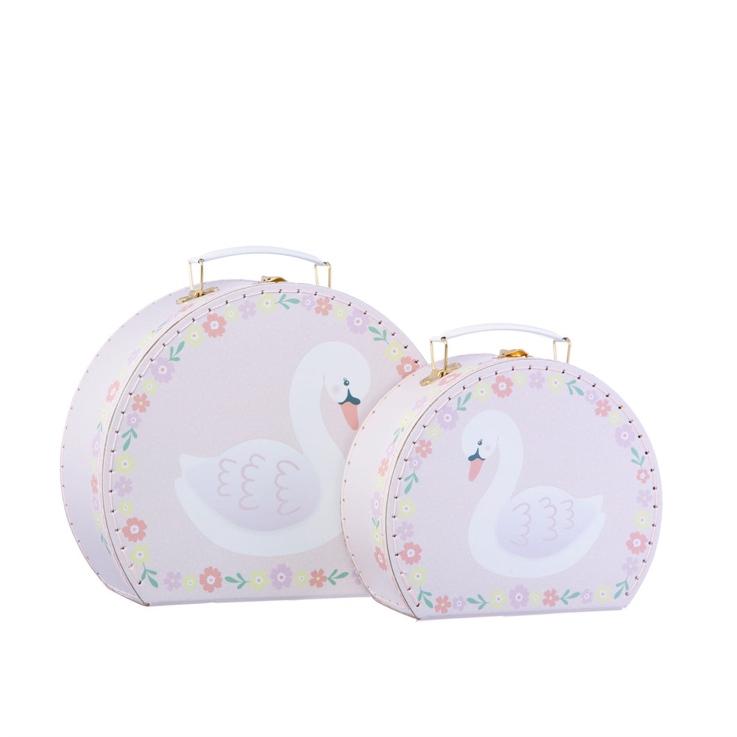 Sass and Belle Set of 2 Freya Swan Pink Floral Suitcases