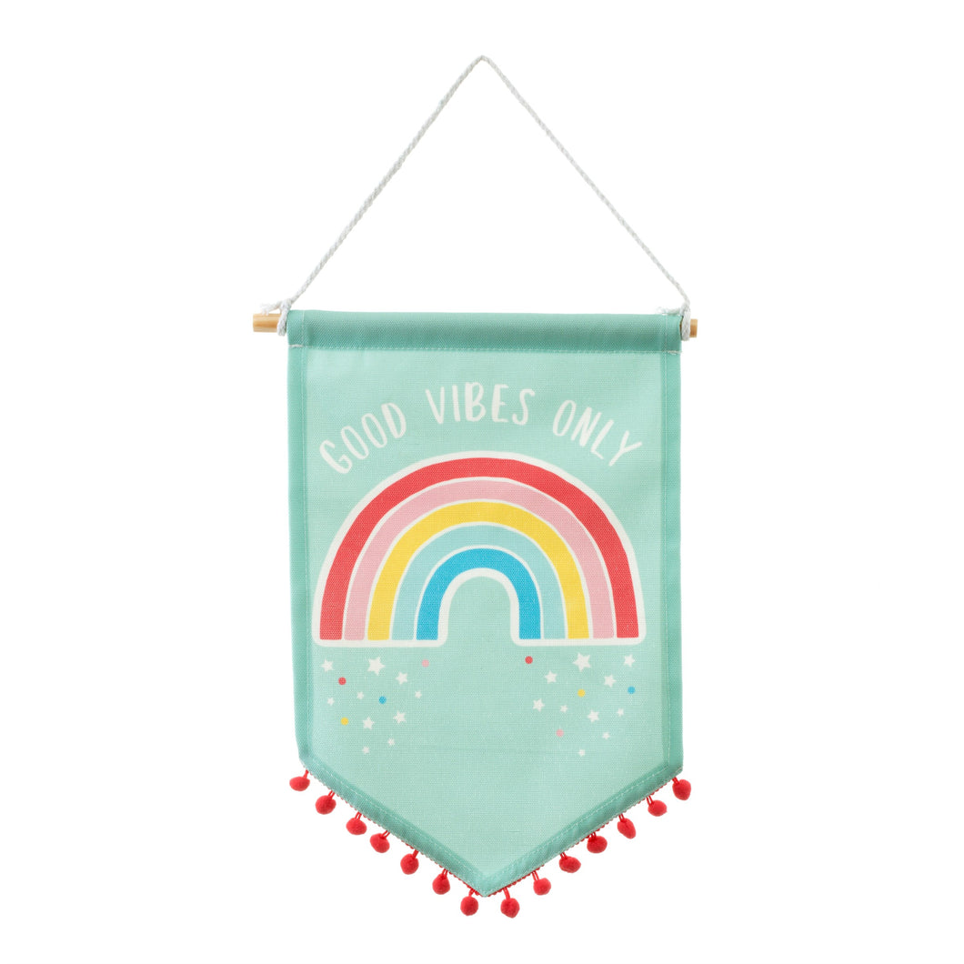 Sass and Belle Chasing Rainbows Banner Flag with Pom Pom