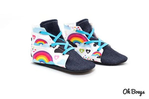 Oh Boeys Rainbow & Skull Lace Up Shoes