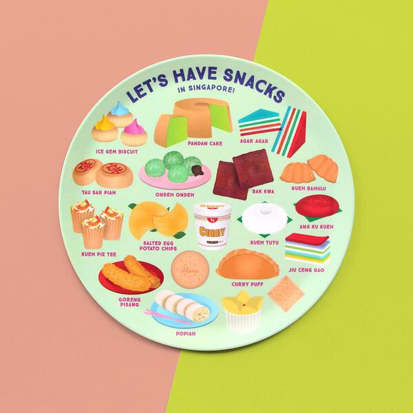 10 INCH PLATE – LET'S HAVE SNACKS IN SINGAPORE