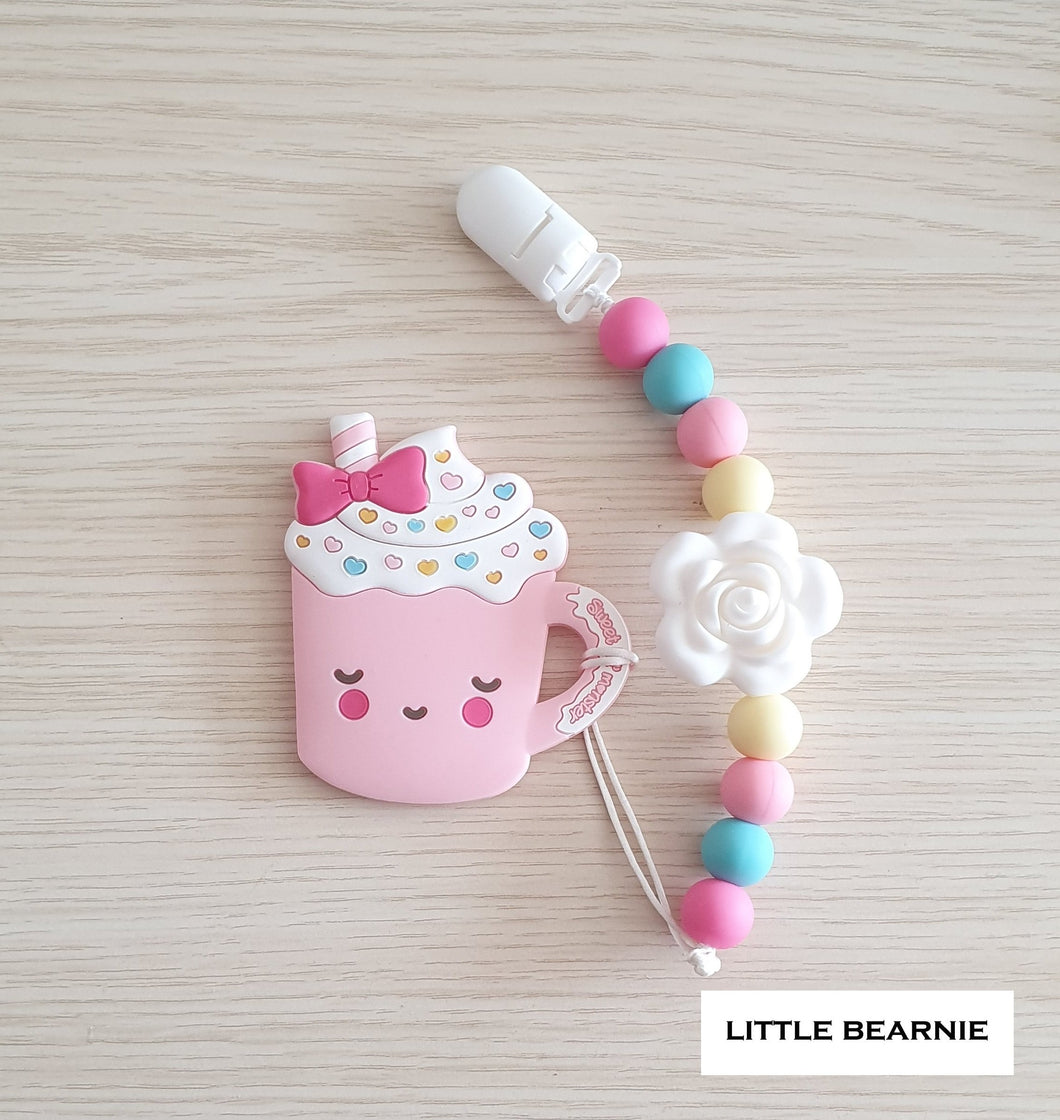 Little Bearnie Teether and Clip Set - Lovely Milkshake (Pink)