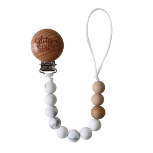 Glitter & Spice Pacifier Clip - Marble