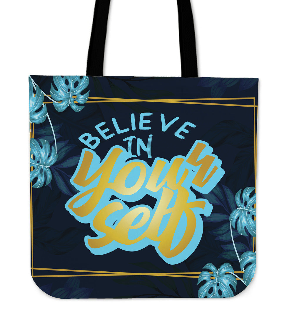 Believe In YourSelf Gold Natural Cloth Tote Bag