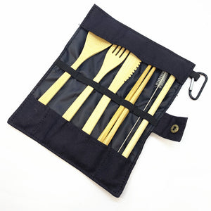 Bamboo Travel Utensils Sustainable Cutlery Set Zero Waste Wrap