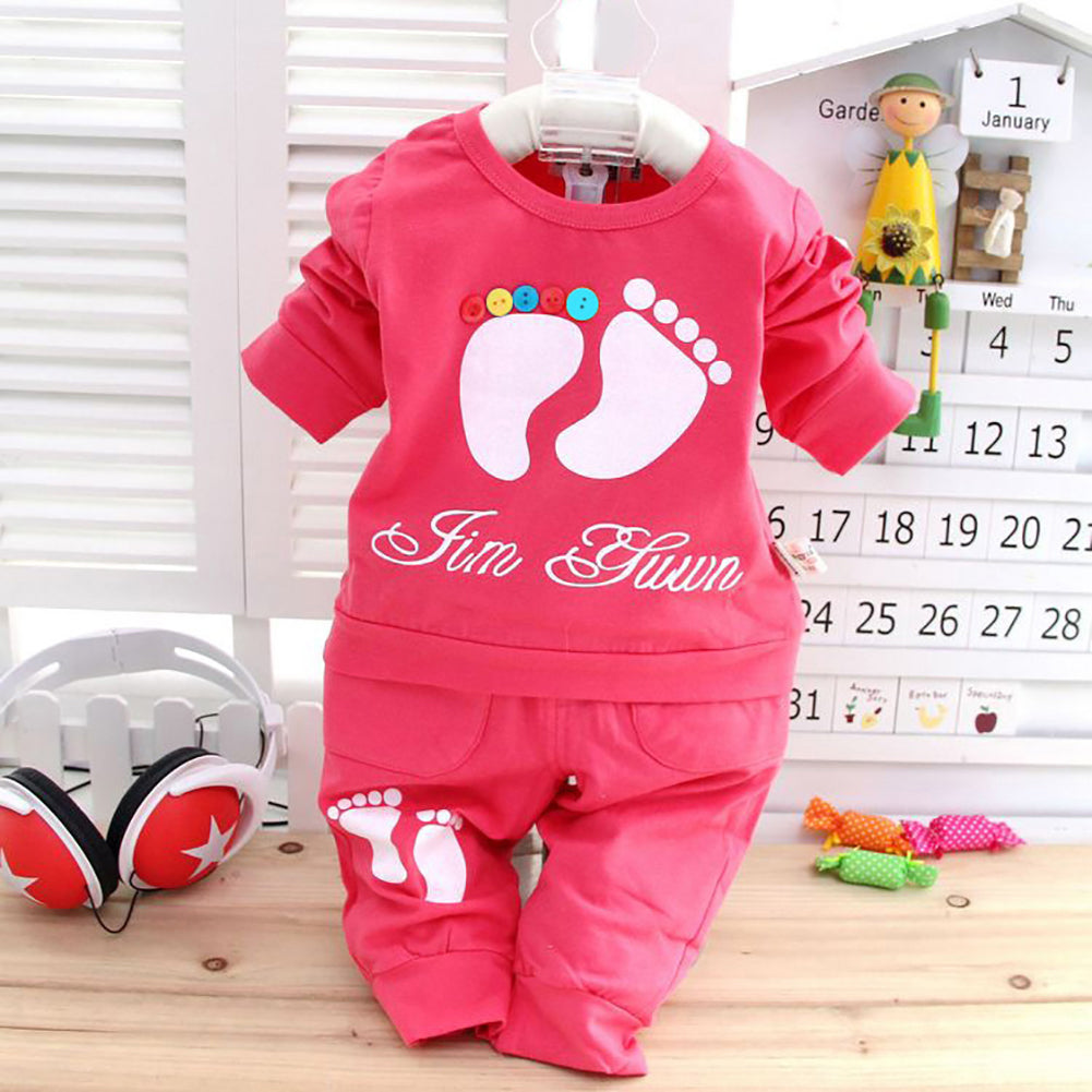 2 Pc. Set (Shirt+Pants)  Cute Footprint Baby Newborn Clothing Outfit