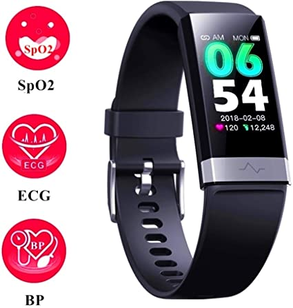 Fitness Activity Tracker with Low O2 reminder, IP68 Waterproof Smart Watch with HRV Sleep Health Monitor Smartwatch for Android iOS phones (BLK)