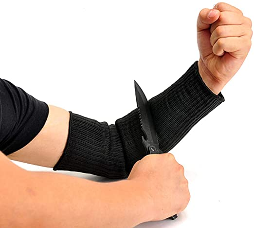 Cut Resistant Sleeves, Yosoo Steel Wire Arm Guard Bracer Cut Proof Anti Abrasion Stab Resistant Armband Kevlar Sleeve Vambraces Protector, Black