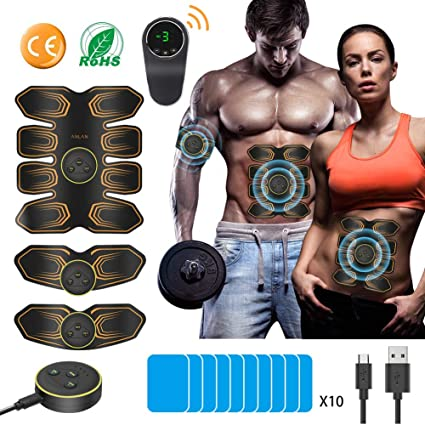 ABS Muscle Stimulator, ANLAN EMS Abdominal Muscle Toner Electronic Muscle Trainer,