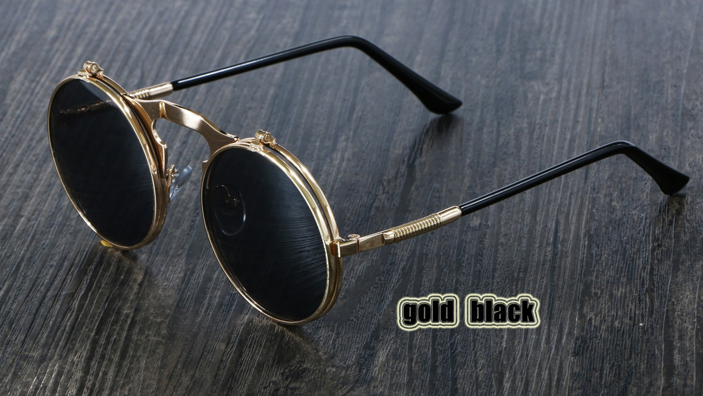 OCULOS De Sol Women Style Retro Flip Circular Double Metal Sun Glasses Men