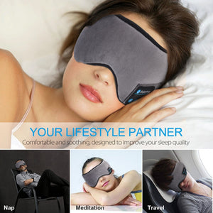 JINSERTA Wireless Stereo Bluetooth Earphone Sleep Mask 5.0 Bluetooth Sleep Soft Earphones Support Handsfree Sleeping Eye Mask