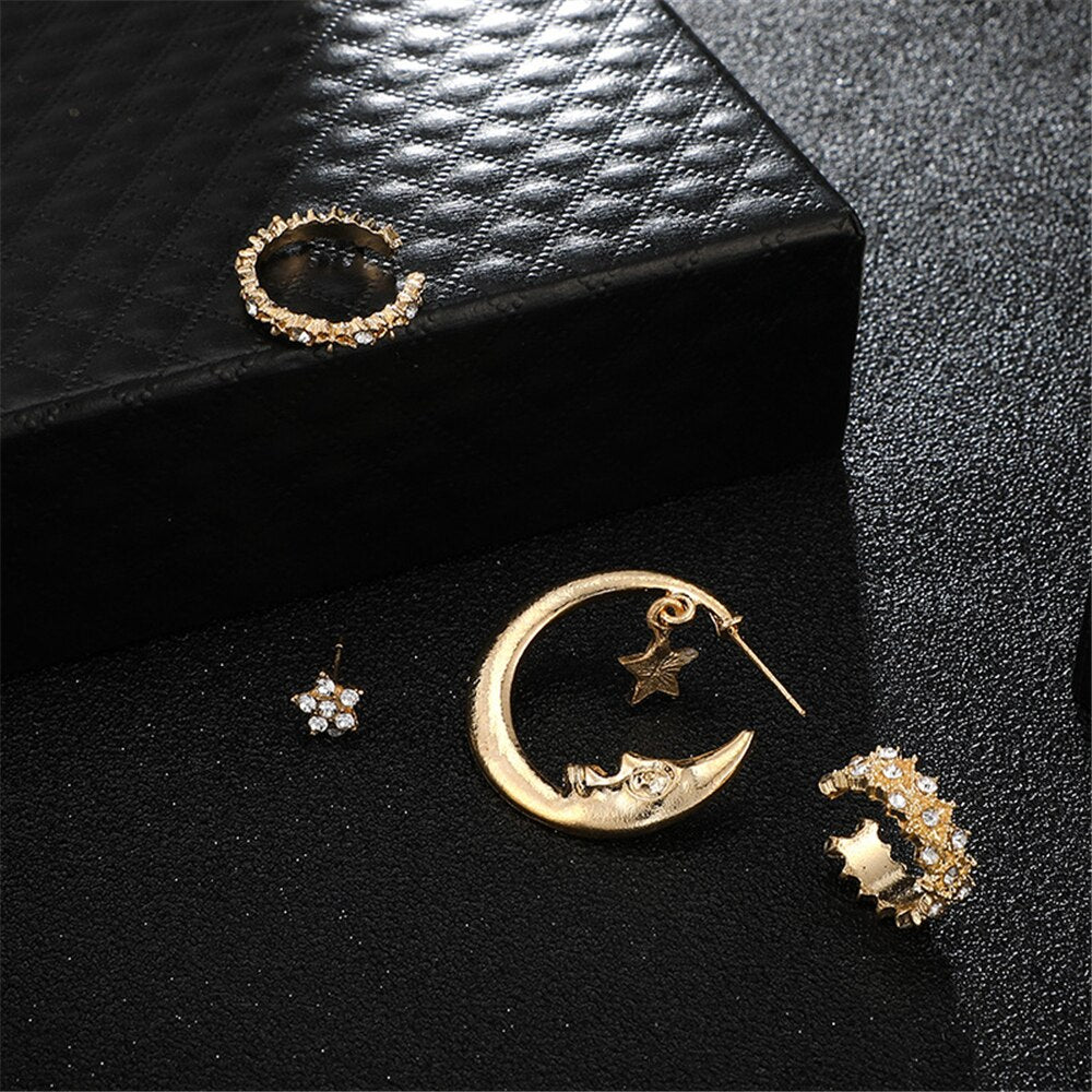 4 Pcs/set Bohemian Moon Star Crystal Stud Earrings