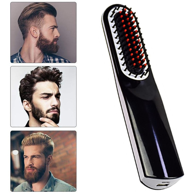 3 IN 1 Cordless Men Quick Beard Straightener Styler Comb
