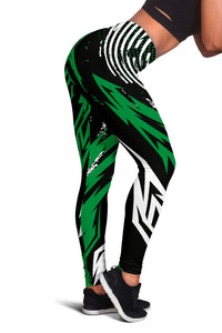 Black & Green Racing Style Women's Leggings