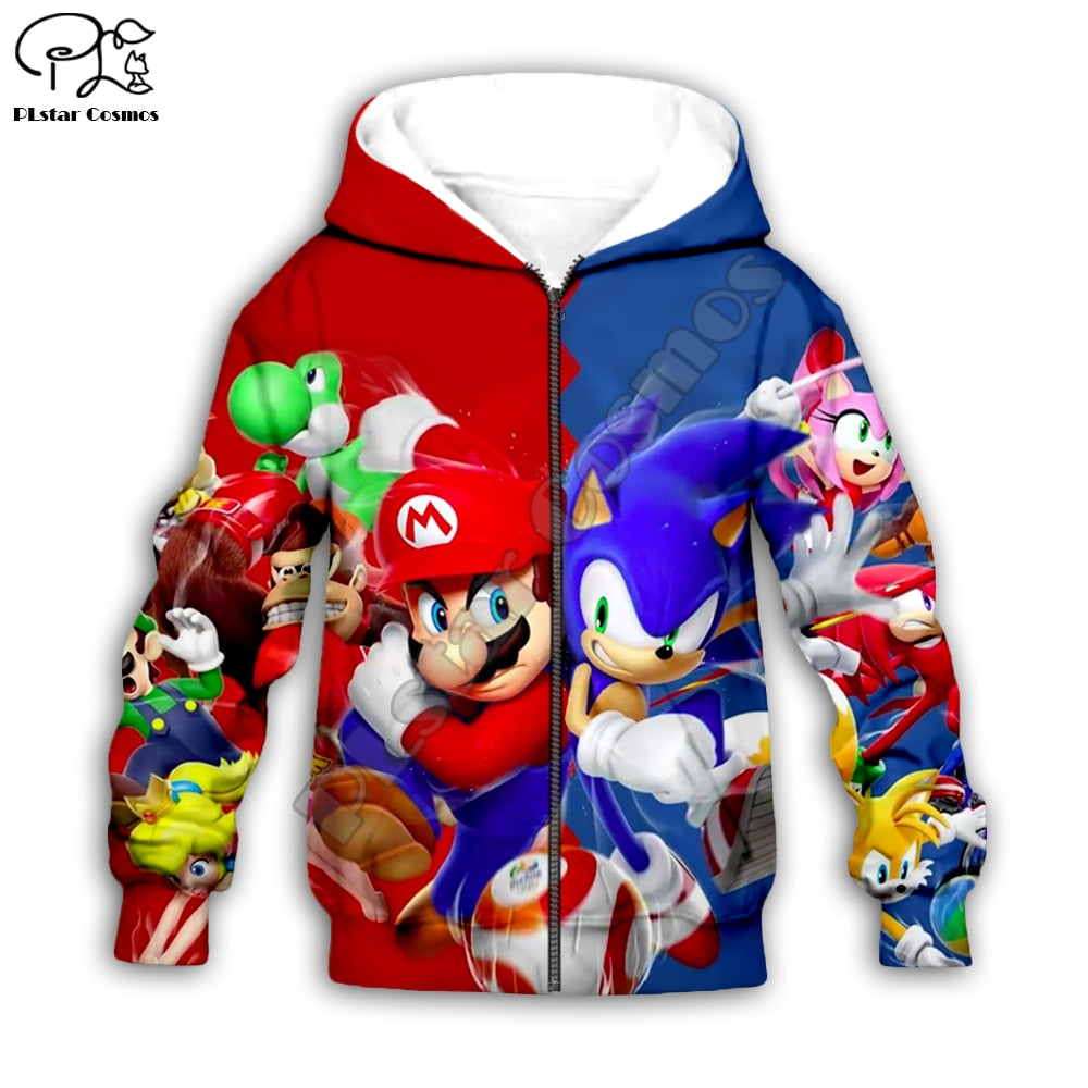 Children's Cartoon Super Sonic 3d Hoodies, Zipper coat, Long Sleeve Pullover, Sweatshirt, Hooded Tracksuit, Pants, Family T-shirts