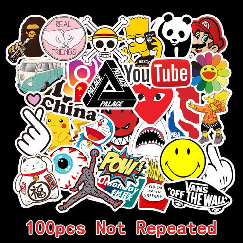 100 PCS Skateboard Fashion brand Logo Waterproof Sticker For Luggage Car Guaitar Skateboard Phone Laptop Bicycle Stickers